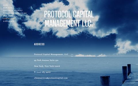 Screenshot of Contact Page protocolcapital.com - Contact Us — Protocol Capital Management LLC. - captured Oct. 3, 2014