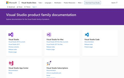 Screenshot of Products Page microsoft.com - Visual Studio product family documentation | Microsoft Docs - captured Nov. 19, 2019