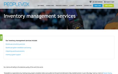 Screenshot of Services Page peoplevox.co.uk - Inventory management - captured Sept. 29, 2014