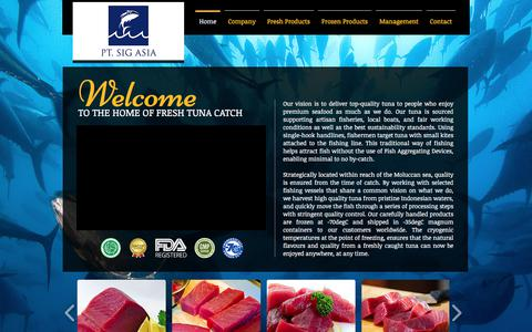 Screenshot of Home Page tunacatch.com - PT. SIG ASIA | Sustainable Tuna from Indonesia - captured July 5, 2017