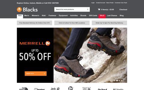 Screenshot of Home Page blacks.co.uk - Blacks - Outdoor Clothing, Waterproof Jackets, Camping, Tents, Sleeping Bags & Walking Boots   The North Face & Berghaus - Blacks - captured Oct. 16, 2015