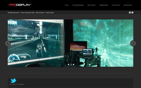 Screenshot of Blog prodisplay.com - Prodisplay | AV Manufacturers - AV Manufacturers – Rear Projection Film – Mirrorvision – Smart Glass - captured Sept. 19, 2014