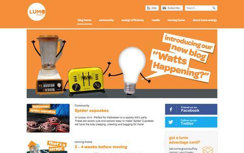 Screenshot of Blog lumoenergy.com.au - Lumo Energy - captured Oct. 26, 2014