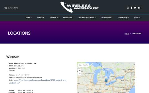 Screenshot of Locations Page wirelesswarehouse.ca - Locations - captured June 13, 2017