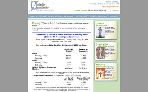 Screenshot of Pricing Page catholiccemeterieschicago.org - Catholic Cemeteries Chicago Interment Product and Service Pricing - captured Nov. 5, 2016