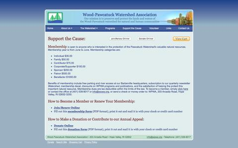 Screenshot of Support Page wpwa.org - Support the Cause: Wood-Pawcatuck Watershed Association - captured June 17, 2016