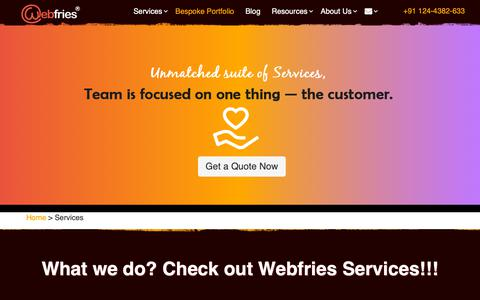 Screenshot of Services Page webfries.com - Website Design and SEO Services in Gurgaon | Webfries - captured Dec. 10, 2018