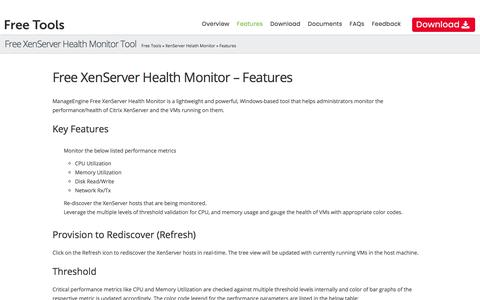Free ManageEngine Xen Health Monitoring - Features