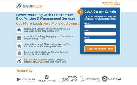 Screenshot of Landing Page sevenatoms.com - Blog Writing Agency, Blog Management Services, Blog Writers - captured Oct. 27, 2014