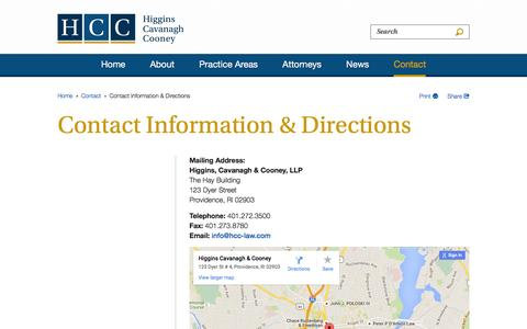 Screenshot of Contact Page Maps & Directions Page hcc-law.com - Contact Information & Directions - Contact - Higgins, Cavanagh & Cooney, LLC - captured Jan. 29, 2016