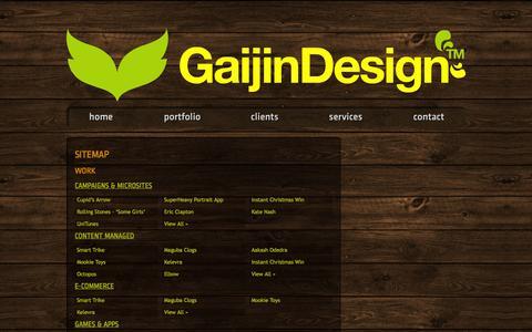Screenshot of Site Map Page gaijindesign.com - Sitemap | Gaijin Design™   //_ Web Design & New Media - captured Sept. 29, 2014