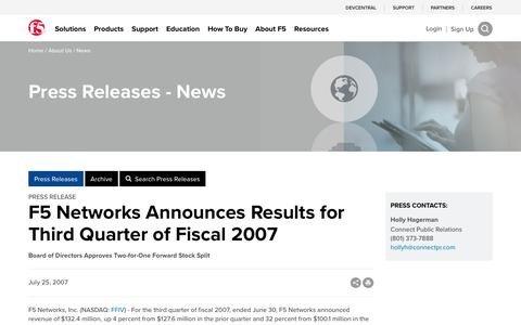 Screenshot of Press Page f5.com - F5 Networks Announces Results for Third Quarter of Fiscal 2007 - captured March 8, 2018