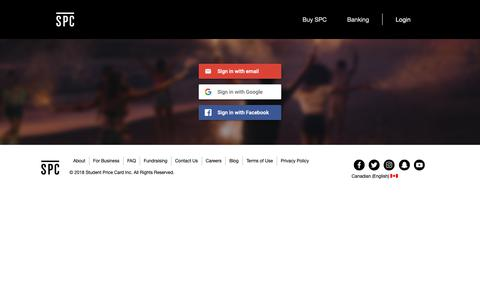 Screenshot of Signup Page spccard.ca - SPC | Login - captured Sept. 26, 2018