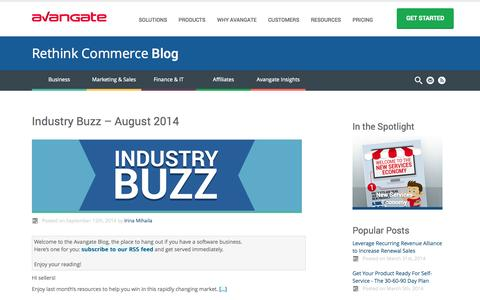 Screenshot of Blog avangate.com - Avangate Blog | Rethink Commerce Blog - captured Sept. 13, 2014
