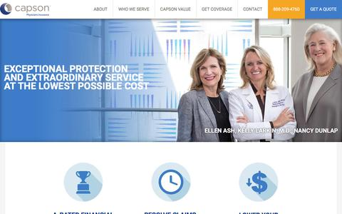 Screenshot of Home Page capson.com - Capson Medical Malpractice Insurance - captured July 11, 2016