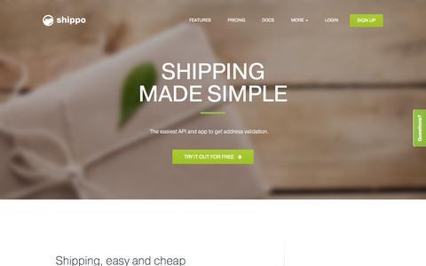 Screenshot of Home Page goshippo.com - Shippo: we make shipping simple - captured Sept. 17, 2014