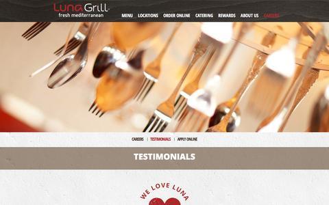 Screenshot of Testimonials Page lunagrill.com - TESTIMONIALS | LunaGrill.com - captured Nov. 9, 2016