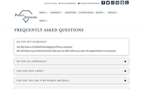Screenshot of FAQ Page piercejewelers.com - FAQ - Pierce Jewelers - captured July 18, 2018