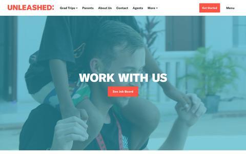 Screenshot of Jobs Page unleashedtravel.com.au - Jobs - Unleashed Grad Trips - captured Sept. 20, 2018