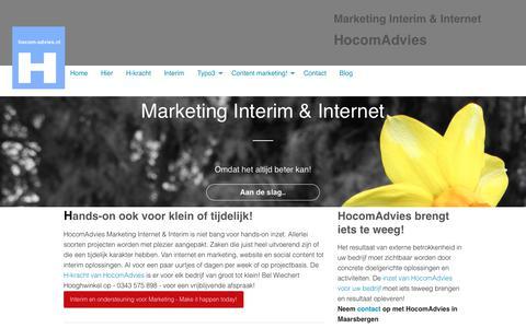 Screenshot of Home Page hocom-advies.nl - Interim Marketing Internet Website Content TYPO3 Inzet Advies - captured Dec. 8, 2018
