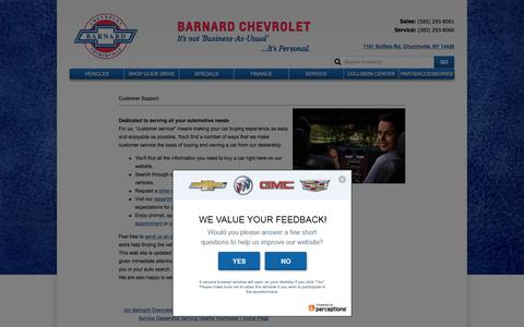 Screenshot of Support Page barnardchevy.com - Customer Service Department from Jim Barnard Chevrolet - captured Jan. 16, 2016