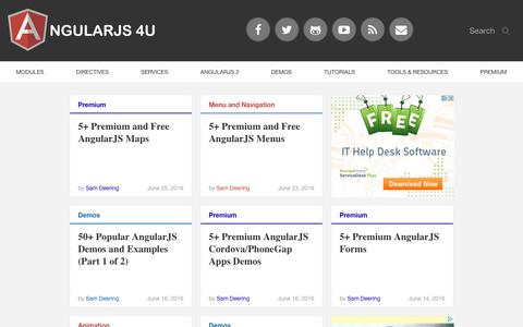 Screenshot of Home Page angularjs4u.com - AngularJS 4U Blog - Demos, News, Directives & Coding Tips - captured Sept. 8, 2016
