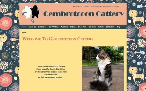 Screenshot of Home Page gembrotcoon.com - Gembrotcoon Cattery | Maine Coon Cattery - Indonesia - captured Oct. 6, 2014