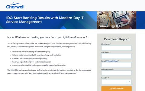 Screenshot of Landing Page cherwell.com - Report | IDC: Start Banking Results with Modern-Day IT Service Management - captured July 5, 2017