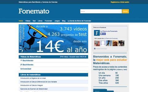 Screenshot of Home Page matematicasbachiller.com - MATEMÁTICAS. Ejercicios resueltos. Videos. Apuntes. Bachillerato Universidad UNED PAU acceso 25 - captured Oct. 2, 2014