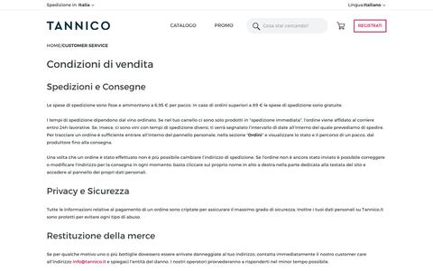 Screenshot of Support Page tannico.it - Customer Service - captured June 24, 2017