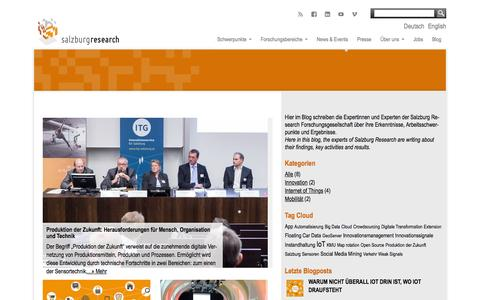 Screenshot of Blog salzburgresearch.at - Blog - Salzburg Research Forschungsgesellschaft - captured Dec. 22, 2015
