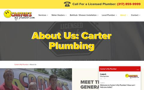 Screenshot of About Page cartersmyplumber.com - About Us - Meet the Carter Plumbing team and family! - captured Sept. 27, 2018