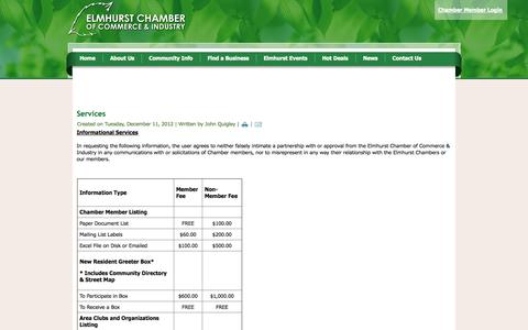 Screenshot of Services Page elmhurstchamber.org - Services - captured Oct. 2, 2014