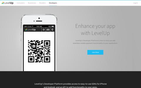 Screenshot of Developers Page thelevelup.com - LevelUp .: Developers - captured July 21, 2014