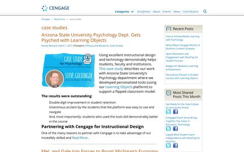 Screenshot of Case Studies Page cengage.com - case studies Archives - Cengage Blog - captured Aug. 4, 2017