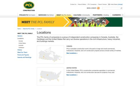 Screenshot of Locations Page pcl.com - Construction Companies Locations | PCL - captured Feb. 10, 2019