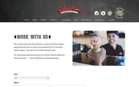 Screenshot of Jobs Page gelatissimo.com.au - Gelatissimo | Work With Us - captured July 16, 2018