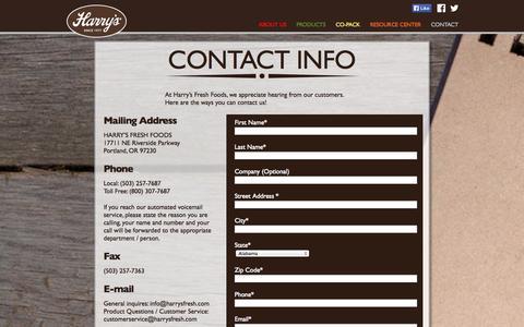 Screenshot of Contact Page harrysfresh.com - Contact - Harry's Fresh Foods - captured Oct. 2, 2014