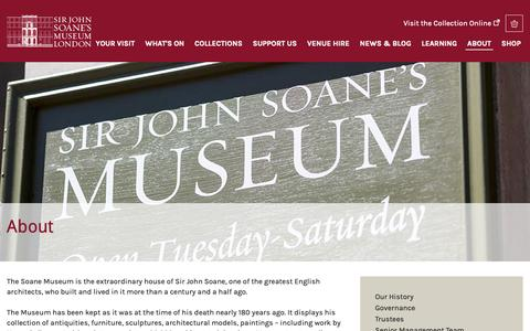 Screenshot of About Page soane.org - About | Sir John Soane's Museum - captured Oct. 2, 2018