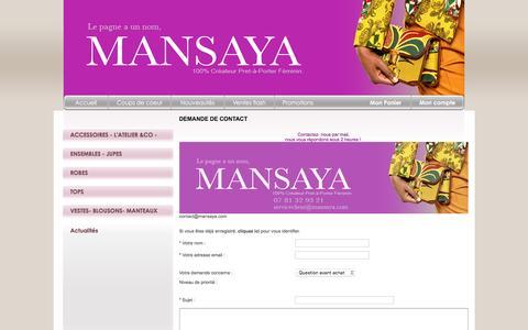 Screenshot of Contact Page mansaya.com - Mansaya.com : prêt à porter feminin en ligne en wax, bogolan. retrouvez toute l'élégance du wax en ligne - captured Feb. 8, 2016