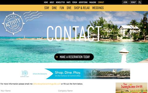 Screenshot of Contact Page caymanactivityguide.com - CONTACT - Cayman Activity Guide - captured Jan. 27, 2018