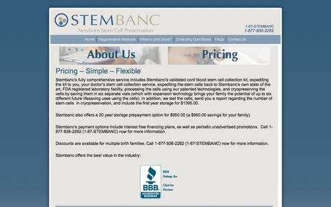 Screenshot of Pricing Page stembanc.com - Pricing - Stembanc - captured Sept. 21, 2018
