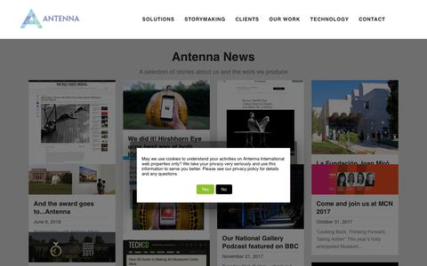 Screenshot of Press Page antennainternational.com - News - Antenna International - captured Dec. 5, 2018