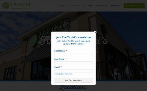 Screenshot of Locations Page tazikiscafe.com - Locations — Taziki'sMediterranean Cafe - captured Sept. 27, 2018