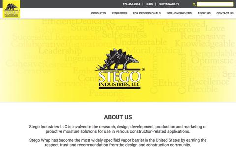 Screenshot of About Page stegoindustries.com - About Stego Industries | Leading Manufacturer of Stego Wrap & Tape Products - captured Oct. 25, 2017