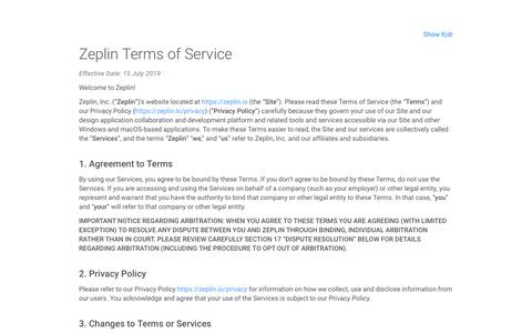 Screenshot of Terms Page zeplin.io - Terms of Service | Zeplin - captured July 15, 2019