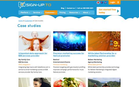 Screenshot of Case Studies Page signupto.com - Permission Marketing Case Studies | Sign-Up.to | Sign-Up.to - captured Sept. 19, 2014