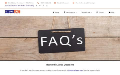 Screenshot of FAQ Page ittefaqco.com - Frequently Asked Questions - Ittefaq Trading Co. - captured Oct. 13, 2018
