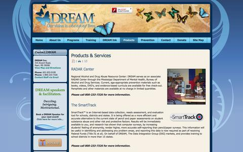 Screenshot of Products Page dreaminc.org - Products & Services - captured Jan. 7, 2016