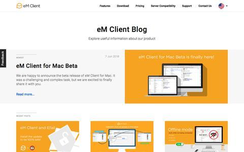 Screenshot of Blog emclient.com - The Official Blog | eM Client - captured July 24, 2018